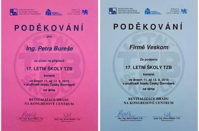 Poděkování firmě Veskom a poděkování pro Ing. Petra Bureše