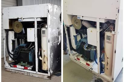 Kompresor před servisem vs. po servisu