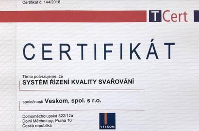 Obnovený certifikát – Systém řízení kvality svařování